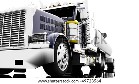 A blue truck isolated on a white background - stock photo
