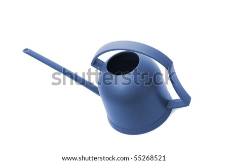 A blue watering can isolated on white.