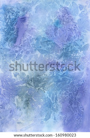 A blue winter watercolor background
