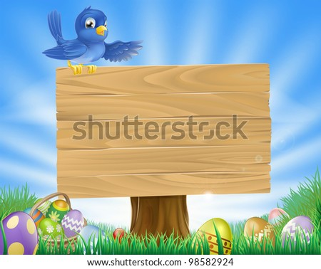 A bluebird Easter cartoon background. Blue bird sits atop  a rustic wooden sign in field of grass with Easter eggs and Easter egg basket. - stock photo