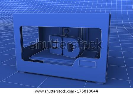A blueprint like rendering of a modern desktop 3D printer - stock photo