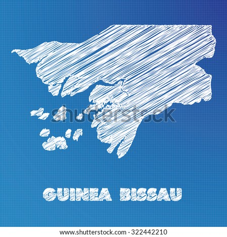 A Blueprint map of the country of Guinea Bissau