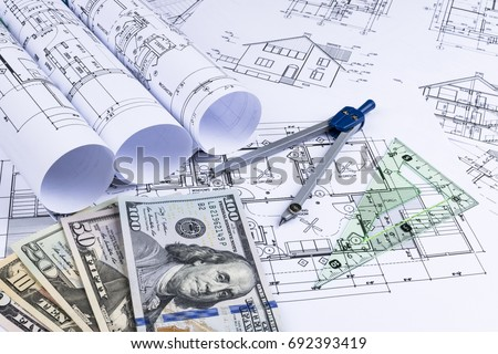 Blueprint architect money symbolic photo financing stock photo edit a blueprint of an architect with money symbolic photo for financing and planning of a malvernweather Choice Image