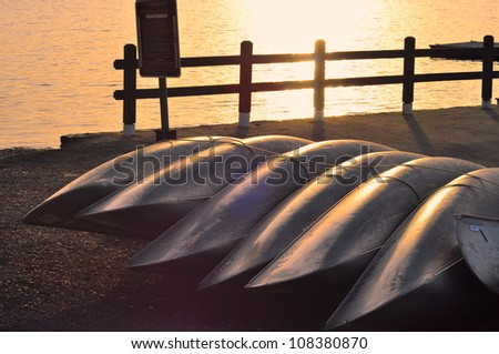 A boat dock in the Adriatic sea at sunset, Herceg Novi, Montenegro