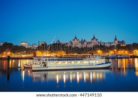 A Boat on river of thames in London, UK. - stock photo