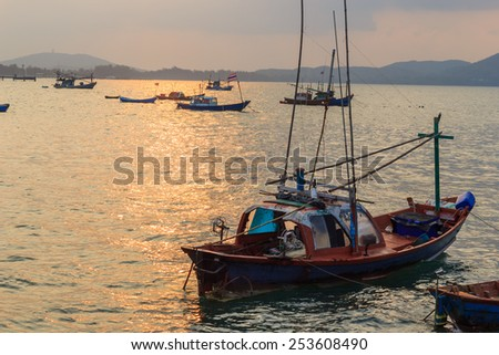 A boat this tools of the fisherman. - stock photo