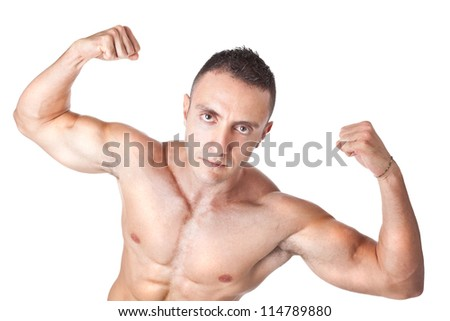 a bodybuilder standing on a white background