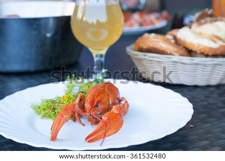 A boiled crayfish served on a white plate decorated with dill flowers with a glass of white beer and a bread basket on the background - stock photo
