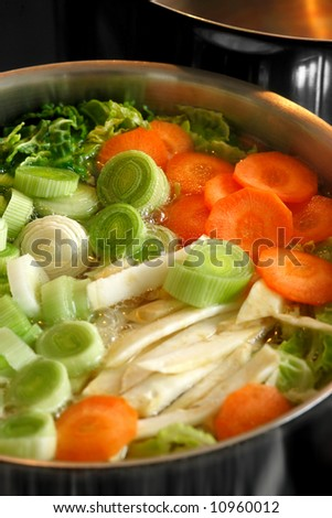 A boiling pot of vegetable soup on top of the stove.  Focus across the middle of image.