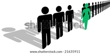 A bold green symbol woman steps forward from a line of people, with shadows. - stock photo