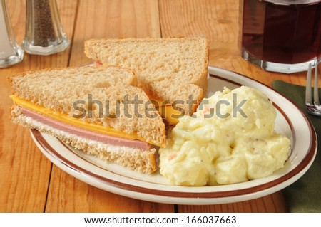 A bologna and cheese sandwich with mustard potato salad