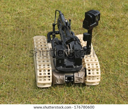 A Bomb Disposal Remote Control Robot Device. - stock photo