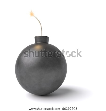 A bomb ready to explode isolated against a white background.
