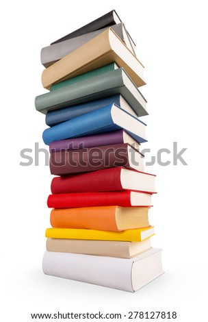 A book tower with different colored books