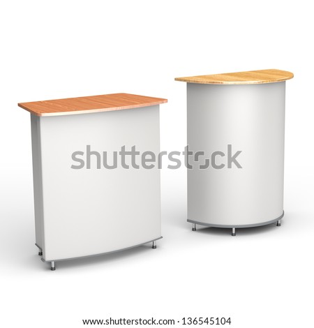 A booth or tribune on white background. render - stock photo