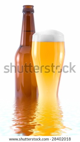 a bottle and a glass of beer