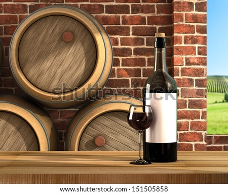 A bottle and a glass of red wine - stock photo