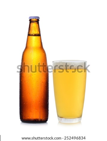 A bottle and glass of beer isolated on white  - stock photo