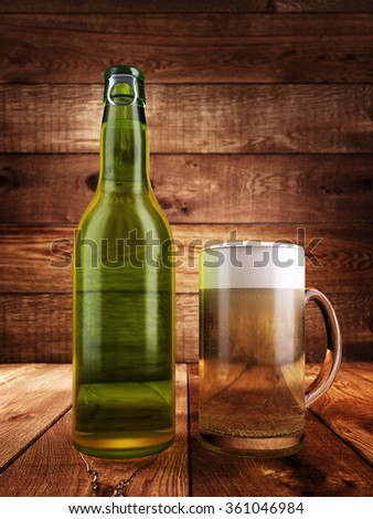 A bottle of beer, a glass full of beer with foam. Background and the surface of wooden boards with illumination. 3D render. - stock photo