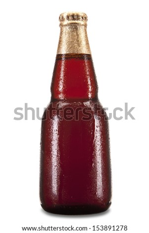 A bottle of beer isolated over a white background.