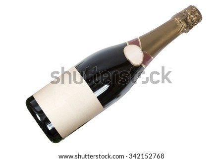 A bottle of champagne (sparkling dark wine) with a clean label. Isolation on a white background. Clipping path. - stock photo