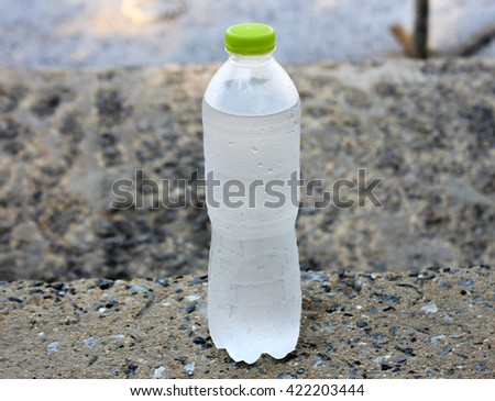A bottle of mineral water with droplets - stock photo