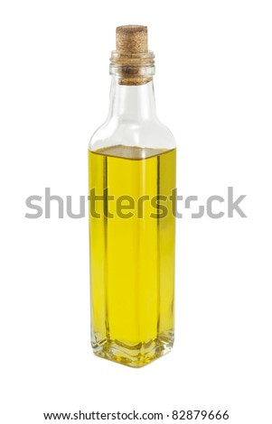 A bottle of oil isolated on white background - stock photo