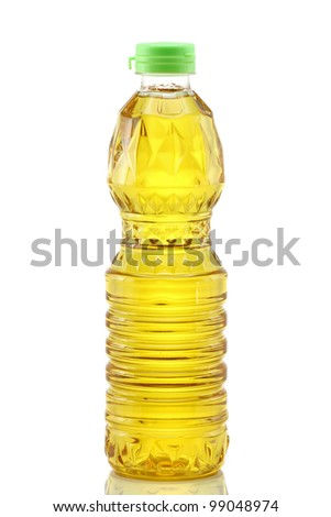 A bottle of Palm kernel Cooking Oil, isolated on white background - stock photo