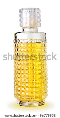 A bottle of perfume on white background, clipping path. - stock photo