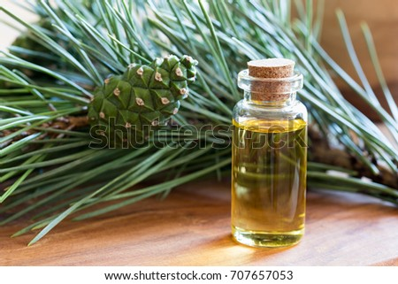 A bottle of pine essential oil with fresh pine branches in the background