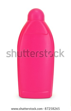A bottle of pink with a detergent  is isolated on a white background - stock photo