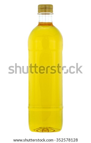A bottle of Rice bran oil, cooking oil extracted from the hard outer brown layer of rice after husk with natural antioxidant properties, isolated on white background - stock photo