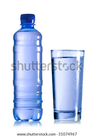 a bottle of water with a glass on white background