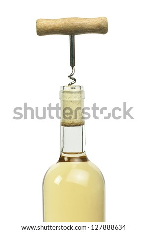 A bottle of white wine and a corkscrew. White isolated