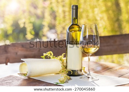 A bottle of white wine with a glass arranged in nature. Focus on bottle - stock photo