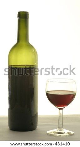A bottle of wine and a glass of red wine