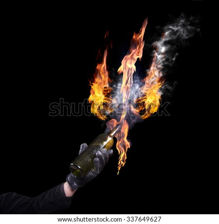 A bottle with Molotov cocktails. The flame in the form of trident. isolated. A series of images.