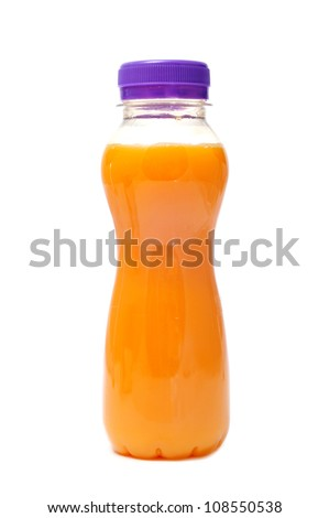a bottle with orange or peach juice on a white background - stock photo