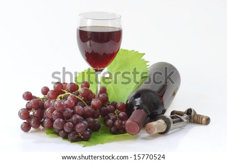 A Bottle with red wine and a glass on bright Background