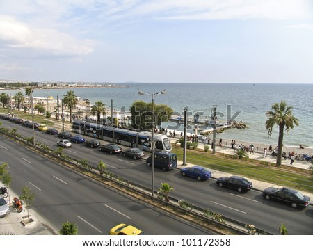 A boulevard next to the sea in Athens Greece, - stock photo