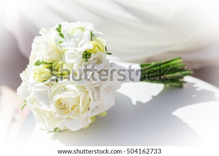 A bouquet of flowers for the bride. At the wedding.
