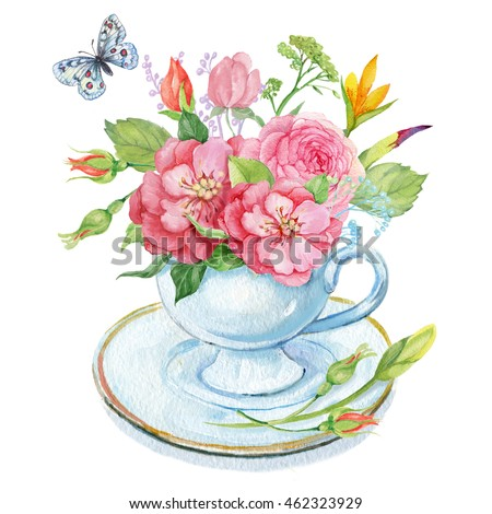 bouquet flowers cup butterflywatercolor illustration stock