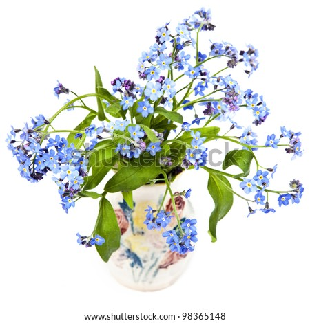 A bouquet of forget-me-nots in a little pottery vase. - stock photo