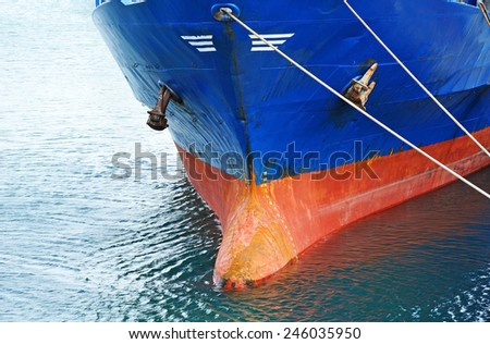 A bow and keel of bulk cargo ship  - stock photo