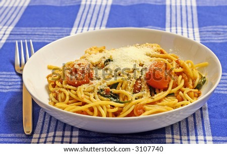 A bowl and spaghetti and tomato sauce with pecorino cheese on a blue striped tablecloth - stock photo