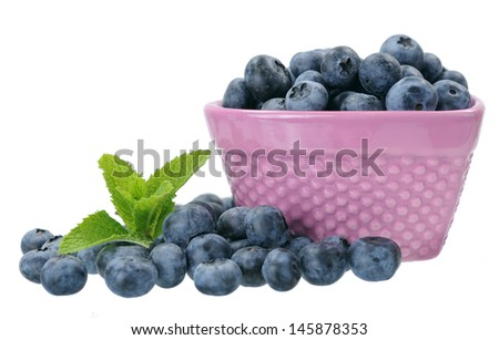 a bowl of blueberry isolated on white