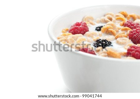 A bowl of cereals with fresh blackberries and raspberries with milk in a white background.