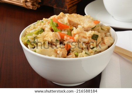 A bowl of chicken teryaki with chop sticks