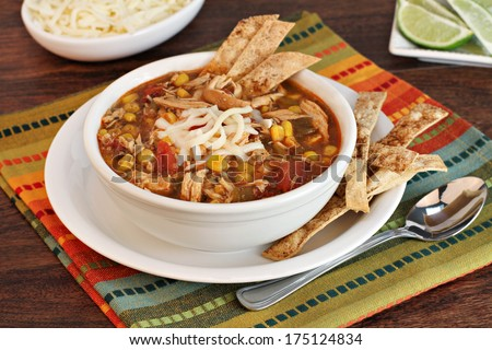 A bowl of chicken tortilla soup with homemade tortilla chips.
