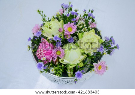A bowl of flowers. Songkran festival, Thailand.
